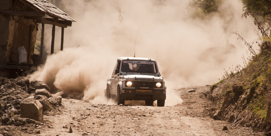 An oncoming gypsy during the 13th Raid de Himalaya rally racing