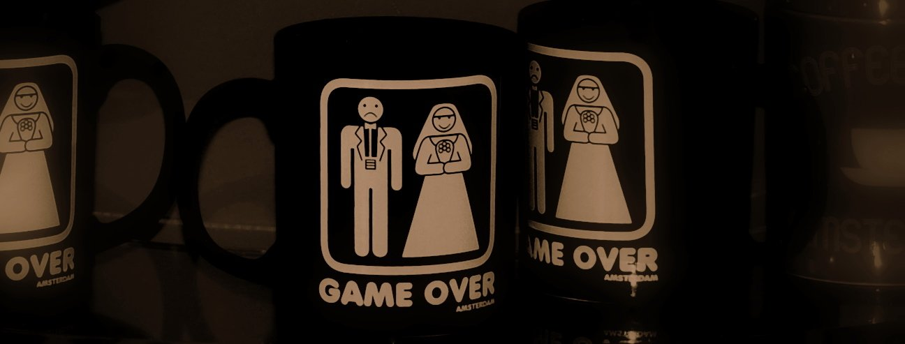Just Married mugs on sale at a shop in Amsterdam
