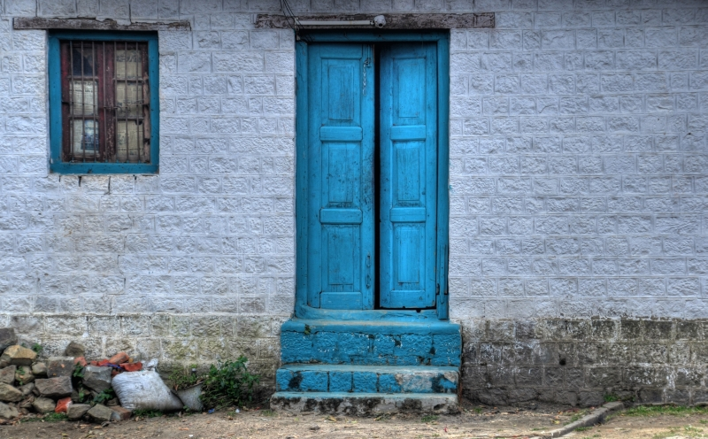 Blue colored door of a house