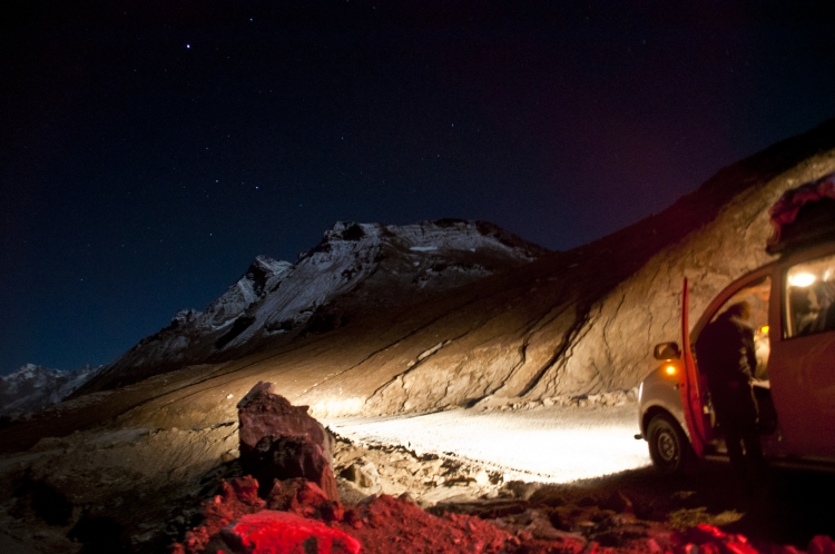 View of Rohtang Pass during a Full Moon night